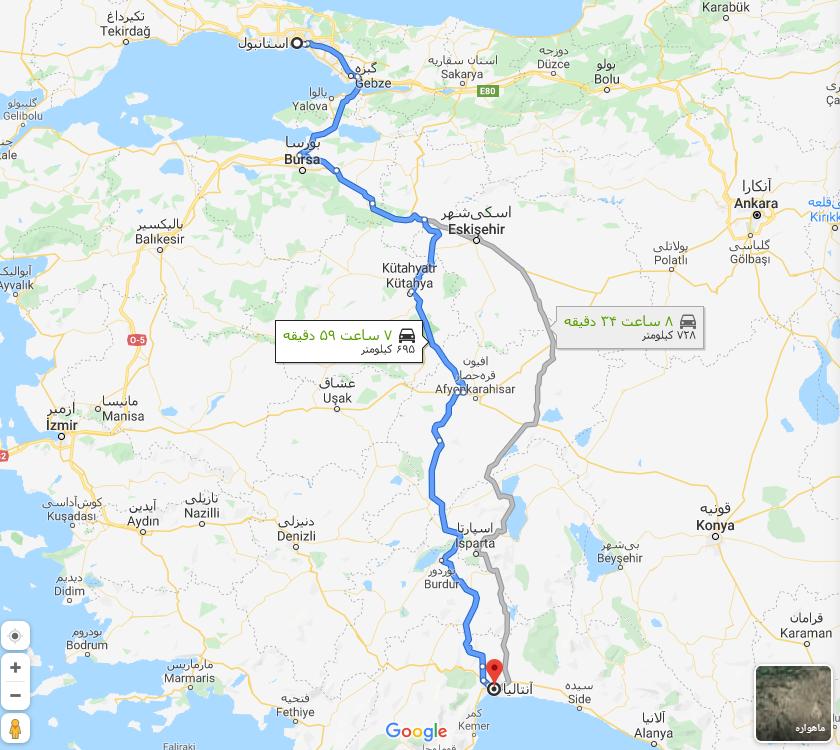استانبول تا انتالیا، Distance from Istanbul to Antalya