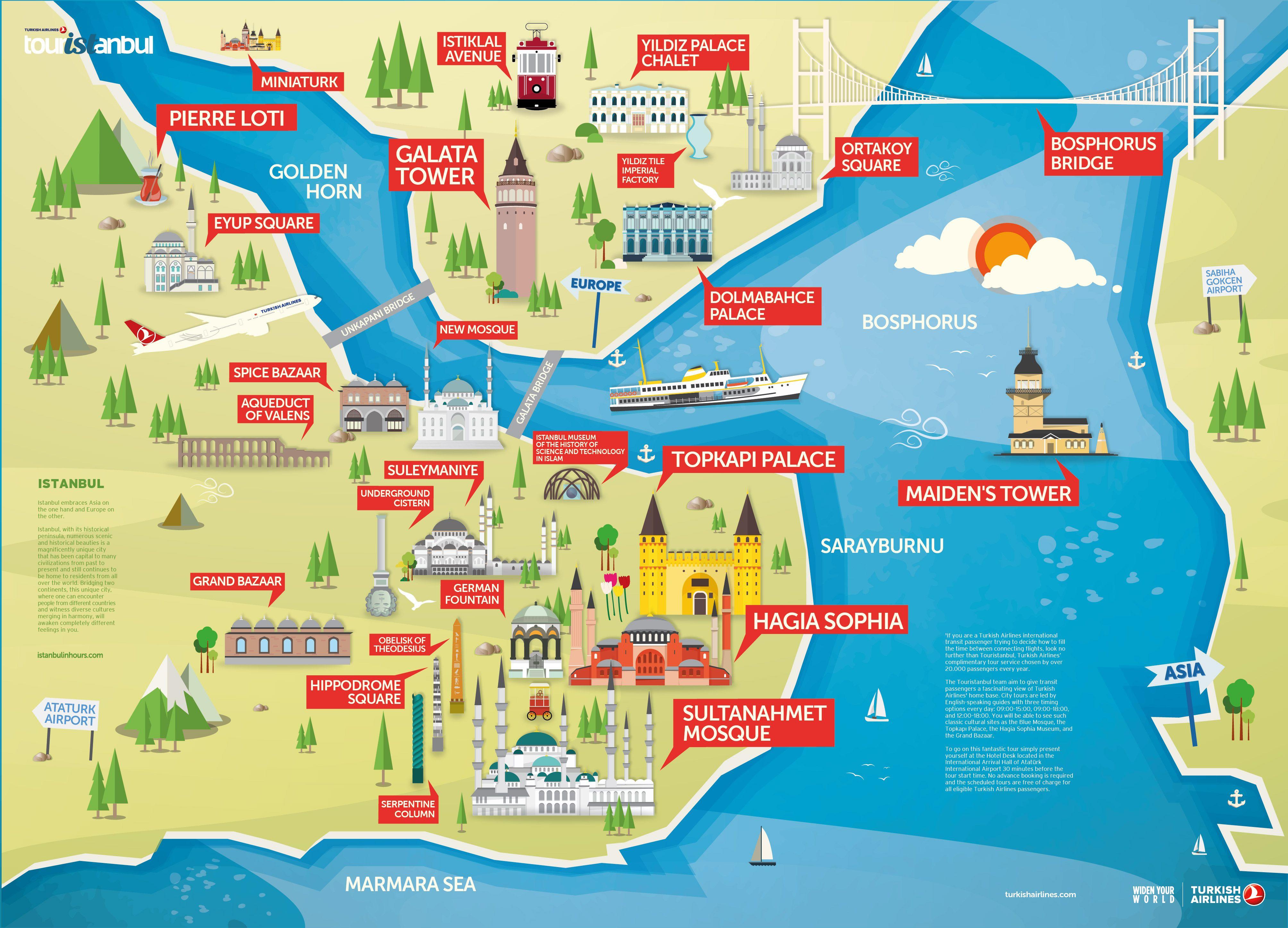 نقشه استانبول شما نقشه توریستی استانبول را مشاهده میکنید در این نقشه که میتوان انرا نقشه گردشگری استانبول نامید تمامی مقاصد و بناهای تاریخی و دیدنی استانبول را خواهید دید.