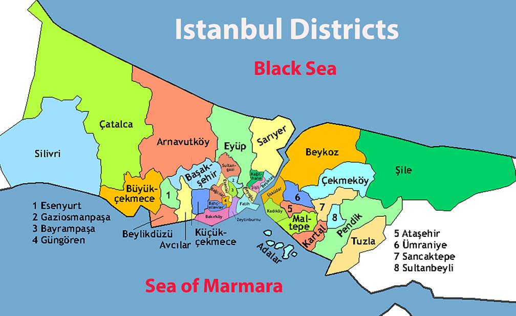 معرفی محله های استانبول به تفکیک اروپایی و اسیایی