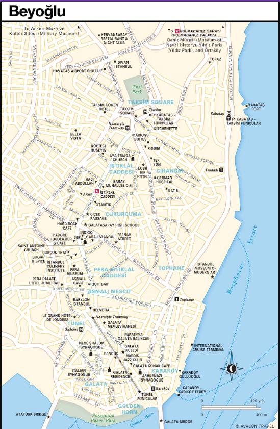 نقشه منطقه بی اوغلو استانبول ، تکسیم یا سلطان احمد ، Map of Istanbul Beyoglu District