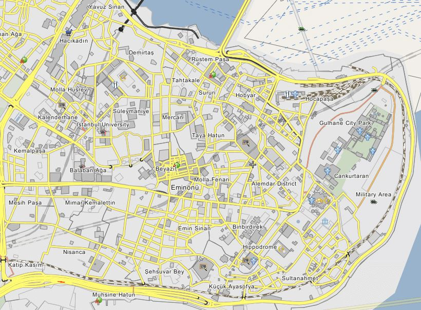 نقشه منطقه سلطان احمد ، سلطان احمد یا بی اوغلو ،  Istanbul Sultan Ahmet District Map